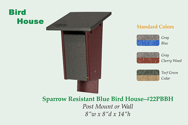 Amish Recycled Poly Sparrow Resistant Bluebird House