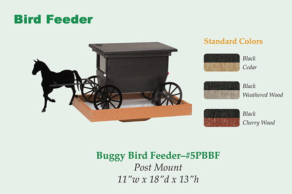Amish Recycled Poly Horse and Buggy Bird Feeder